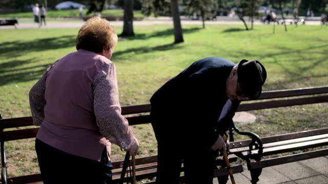 elderly couple sitting on the bench in the spa park.anniversary-60 years in marriage - walking cane stock videos and b-roll footage