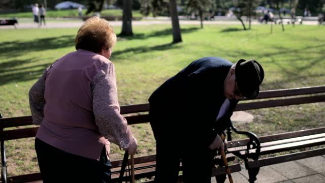 vídeos y material grabado en eventos de stock de pareja de ancianos sentados en el banco en el parque del balneario. aniversario-60 años de matrimonio - bastón accesorio personal
