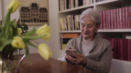Elderly lady having a video call greets the family saying bye bye to smartphone