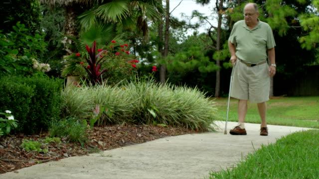 elderly man injured - walking cane stock videos and b-roll footage