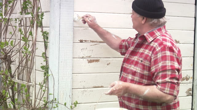 Elderly man painting his summer cottage Sweden.