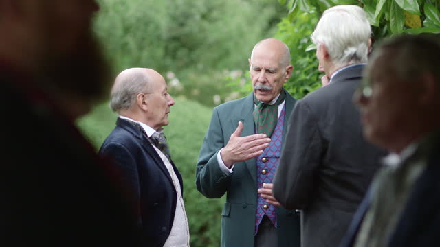 elderly men in suits conversing outside in a ww1 era reenactment on january 01, 2016. . - historical reenactment stock videos & royalty-free footage