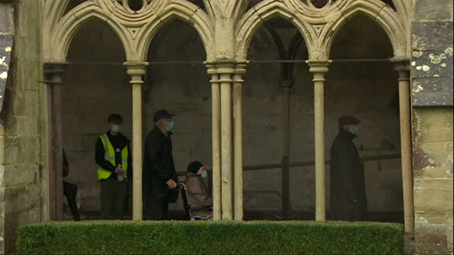 "elderly people getting their covid-19 vaccines at vaccination centre in salisbury cathedral - ""bbc news"" stock videos & royalty-free footage"