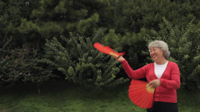 ms elderly woman dancing with red fans - hand fan stock videos & royalty-free footage