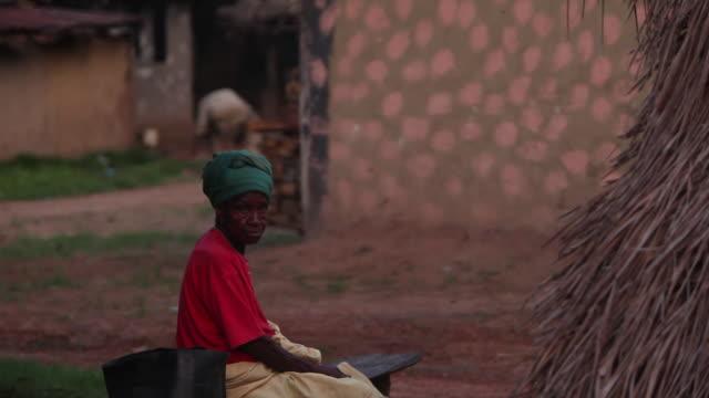 Elderly woman in Liberian village