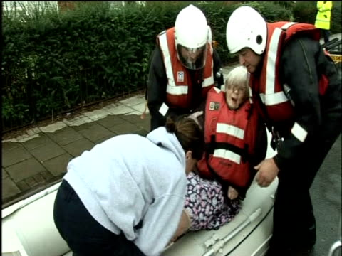 Elderly woman lifted from dinghy during flooding Sheffield June 2007