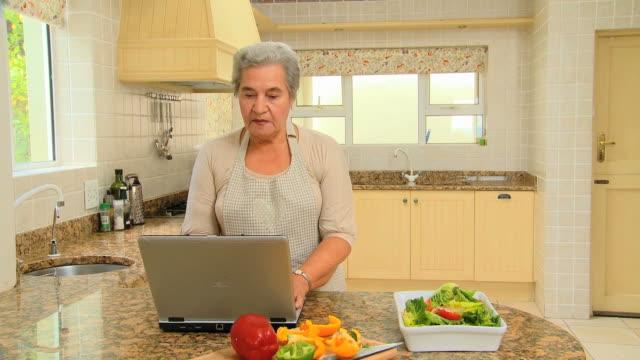 vídeos de stock e filmes b-roll de elderly woman looking up a recipe on a laptop / cape town, western cape, south africa - idoso na internet
