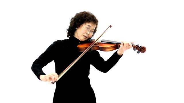Elderly woman playing violin