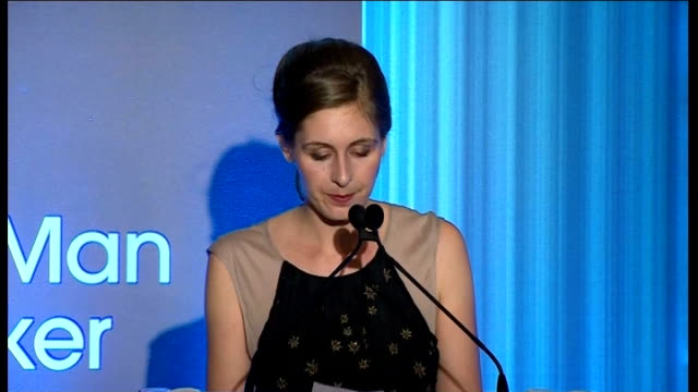 ceremony eleanor catton speech catton from stage / catton talking to duchess of cornwall - booker prize stock-videos und b-roll-filmmaterial