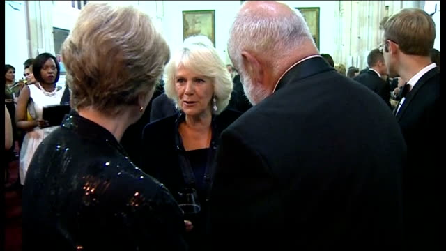 ceremony ****some england london int various of camilla duchess of cornwall talking with people at reception held in connection with the 2013 man... - booker prize stock-videos und b-roll-filmmaterial