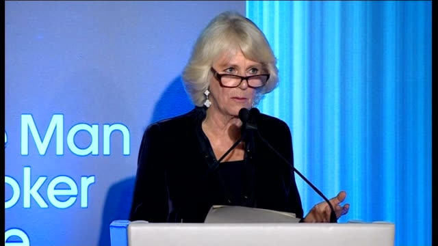 ceremony unnamed man speaking at podium / awards ceremony / man speaking at podium camilla duchess of cornwall speech duchess of cornwalll presenting... - man booker prize stock videos & royalty-free footage