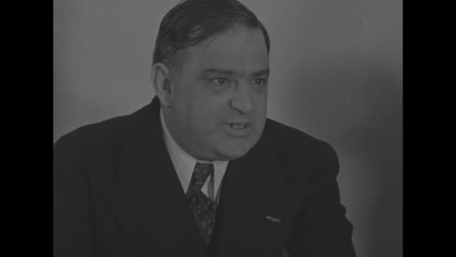 Eleanor Roosevelt New York City Mayor Fiorello La Guardia and Dean James M Landis of Harvard Law School new executive director of the Office of...