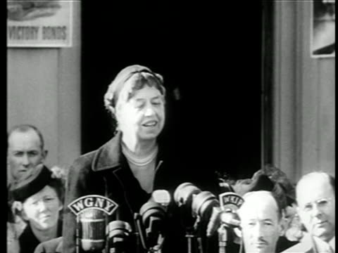 eleanor roosevelt speaking to sell war bonds / documentary - speech stock videos & royalty-free footage
