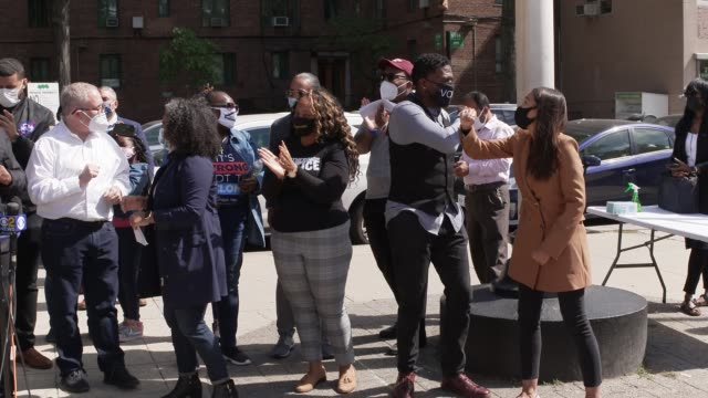 elected officials and community leaders gather to push back against voter suppression from partisan bronx board of elections commissioner. per the... - around the fair n.y stock videos & royalty-free footage