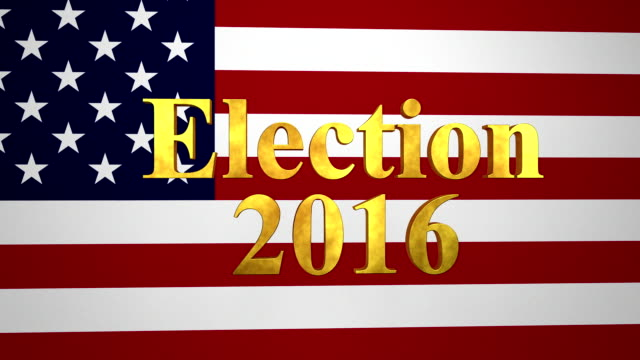 Election 2016 Gold Text With USA Flag