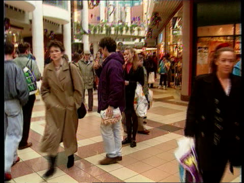election and recession; scotland : glasgow cms shopping mall with people shopping track forward england: london: brent cross shoe shop window with... - recession stock videos & royalty-free footage