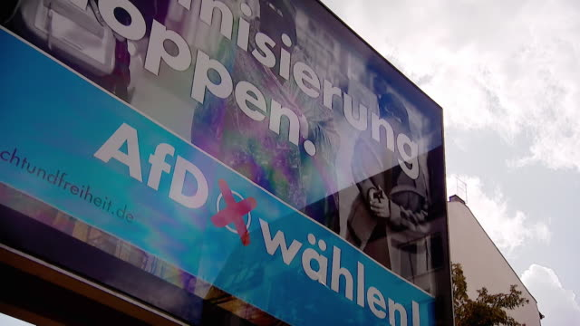 Election campaign posters for the farright AfD party in Berlin Germany