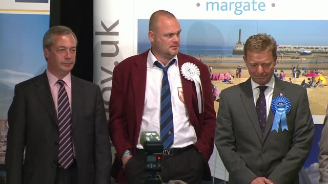 election expenses investigation: further claims emerge; lib / 8.5.2015 int returning officer reading out results of vote in south thanet constituency... - al murray stock videos & royalty-free footage
