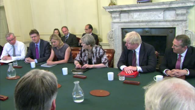 queen's speech delayed / dup negotiations / theresa may meets backbenchers; london: downing street: theresa may addressing cabinet meeting sot -... - david m. davis politician stock videos & royalty-free footage