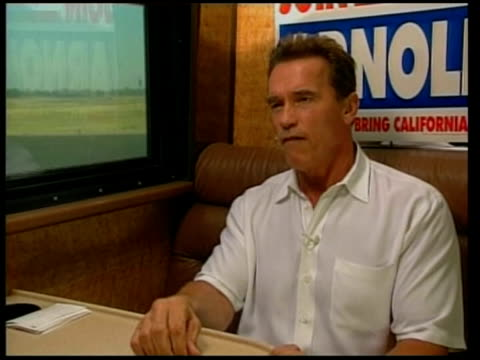 election for california governor; pool via agency int arnold schwarzenegger interview sot - never grabbed anyone...this is not me - governor stock videos & royalty-free footage