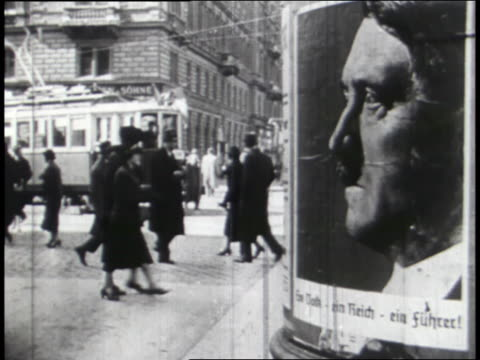 vídeos de stock e filmes b-roll de election posters and voter ballots show hitler elected in germany. - nazismo