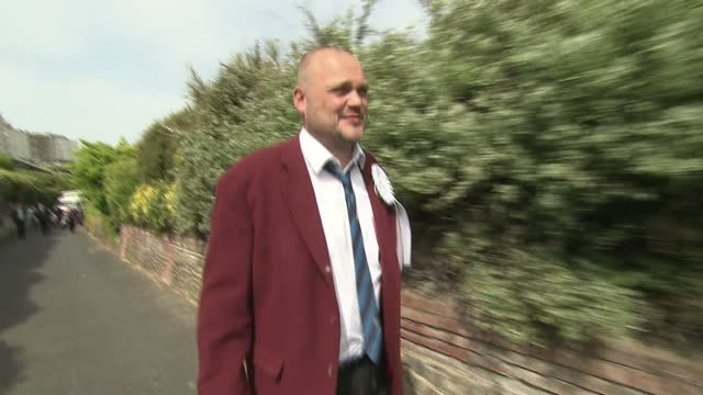 election results announced for south thanet. shows exterior shots al murray meeting people outside the counting hall in margate. on may 08, 2015 in... - al murray stock videos & royalty-free footage