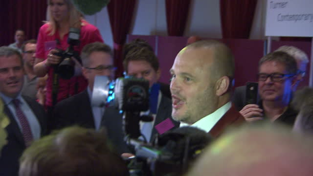 election results announced for south thanet. shows interior shots al murray of fukp posing for photographs. on may 08, 2015 in margate, england. - al murray stock videos & royalty-free footage