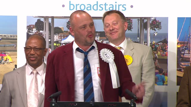 election results announced for south thanet. shows interior shots al murray making speech talking about taking part in democracy. on may 08, 2015 in... - al murray stock videos & royalty-free footage