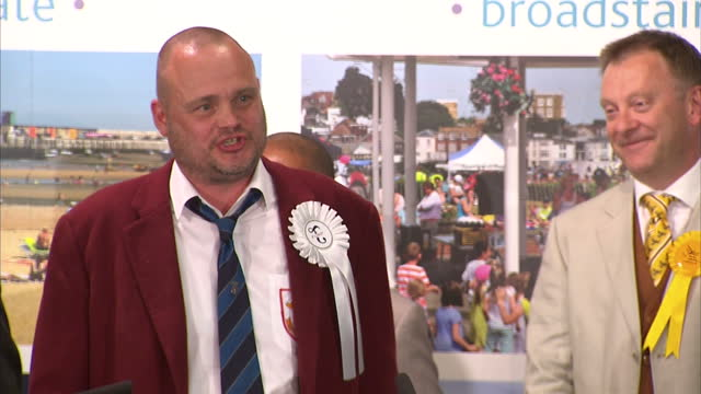 election results announced for south thanet. shows interior shots al murray making acceptance speech & thanking his 318 voters & the welcoming people... - al murray stock videos & royalty-free footage