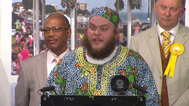 election results announced for south thanet. shows interior shots leader of the al zebabist nation of ooog, zebadiah abu-obadiah making acceptance... - al murray stock videos & royalty-free footage