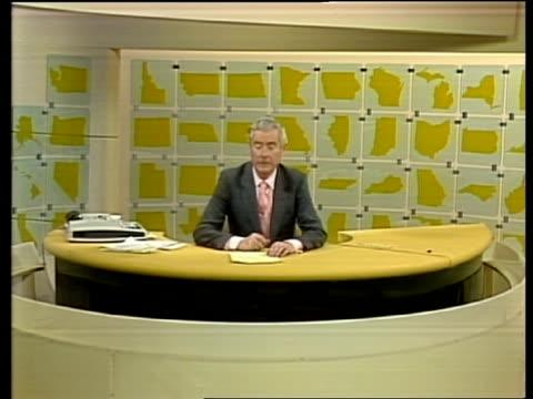 the '84 vote:; usa: int alastair burnet studio to camera sot - alastair burnet stock videos & royalty-free footage