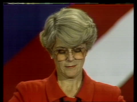 the '84 vote:; usa: new york: hilton: seq geraldine ferraro arriving at party - sitting with family in hotel room including husband john zaccaro -... - alastair burnet stock videos & royalty-free footage