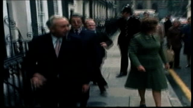vídeos de stock, filmes e b-roll de election speculation - a look at past elections; 1974 london: downing street: harold wilson along with other ministers westminster: edward heath on... - prime minister