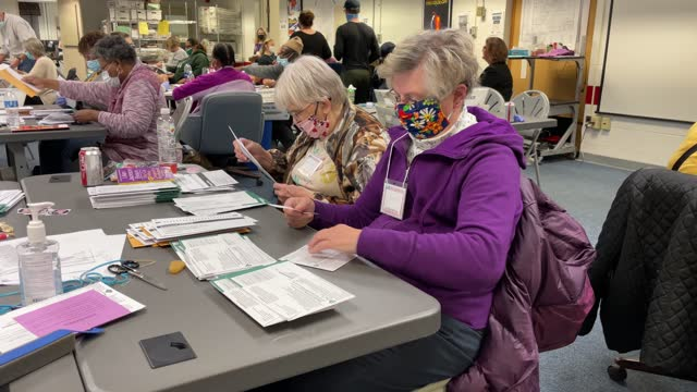 election workers sort absentee ballots to count at the lansing city clerk's office on election night on november 03, 2020 in lansing, michigan.... - scheda di votazione video stock e b–roll