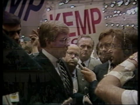 """elections; dallas platform of republican convention side jack kemp being intvwd with """"kemp"""" banner behind - トレバー マクドナルド点の映像素材/bロール"""