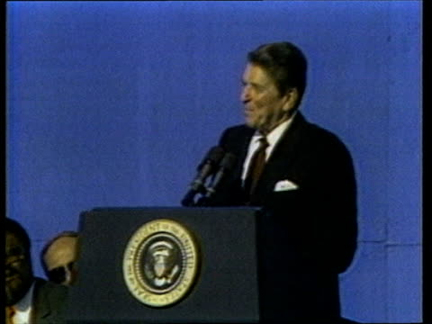 california reagan lr to podium and applauded gv supporters waving flags at rally ms ronald regan speech sof i'm terrified to do that cutaway cs woman... - nancy sinatra stock videos and b-roll footage