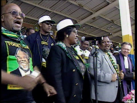 Elections Mandela standing down SOUTH AFRICA/POLITICS Elections Mandela standing down ITN Winnie Mandela at ANC rally dancing on platform