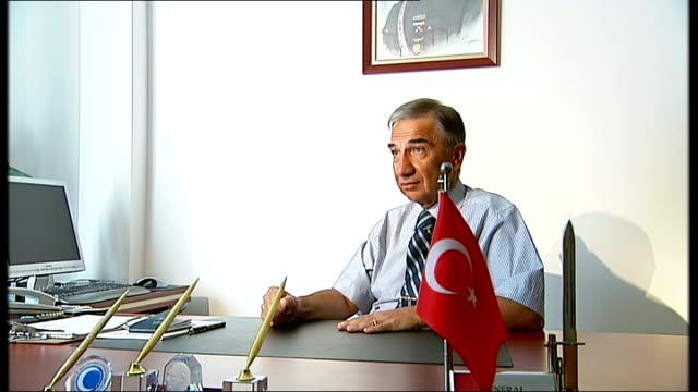 muslim ak party wins majority in parliament; turkey: int major-general armagan kuloglu interview sot - on turkey entering european union - union army stock videos & royalty-free footage