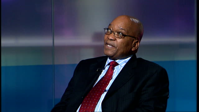 official results still not released; england: london: gir: int jacob zuma interview sot - there ought to be intervention / we ought to augment what... - retrovirus video stock e b–roll