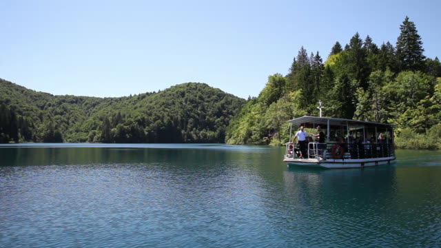 Electric boat on the lake Kozjak, Plitvice Lakes National Park