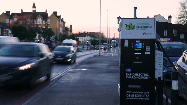 electric car charging station - 'net zero' emissions on november 18, 2020 in london, england. in a 10-point environmental plan to be announced this... - industrial equipment stock videos & royalty-free footage
