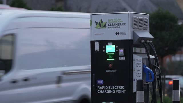 electric car charging station on november 23, 2020 in london, england.the uk government released details of its ten point plan for a green industrial... - fossil fuel stock videos & royalty-free footage