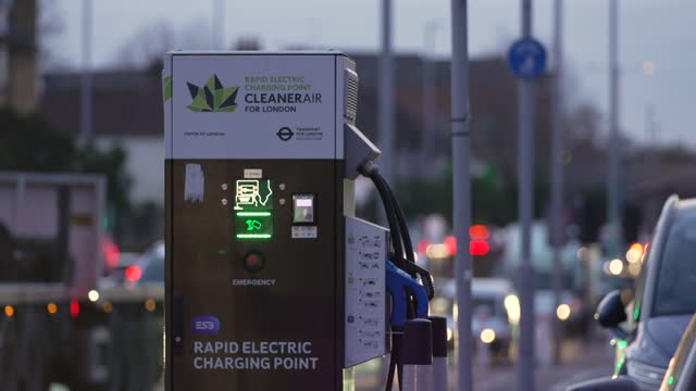 electric car charging station on november 23, 2020 in london, england.the uk government released details of its ten point plan for a green industrial... - nuclear energy点の映像素材/bロール