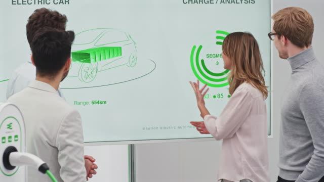 treffen zur entwicklung von elektroautos - effektivität stock-videos und b-roll-filmmaterial