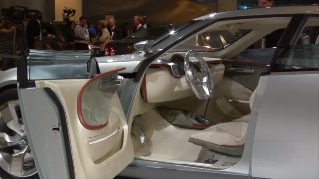 cu, electric chevrolet volt concept car rotating on display, north american international auto show - general motors stock videos & royalty-free footage