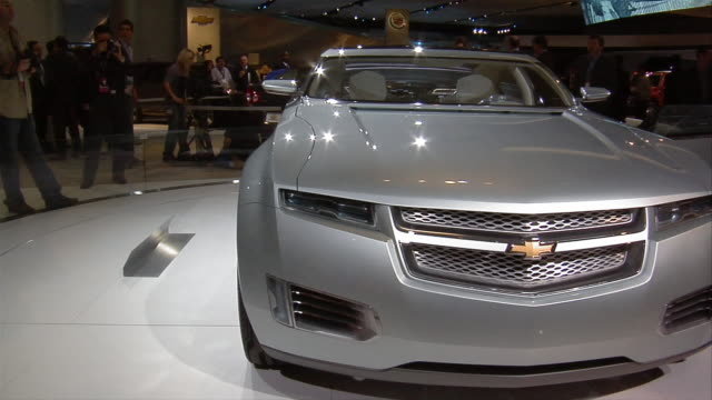 CU, Electric Chevrolet Volt Concept car rotating on display, North American International Auto Show