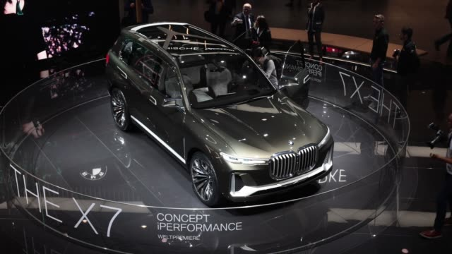 X7 electric concept sports utility vehicle manufactured by Bayerische Motoren Werke AG stands on display during the second media preview day of the...