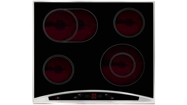 elektro kochmöglichkeit isoliert auf weiß wird auf - keramik stock-videos und b-roll-filmmaterial