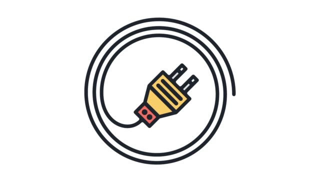 electric energy consumption flat line icon animation with alpha - electrical plug stock videos and b-roll footage