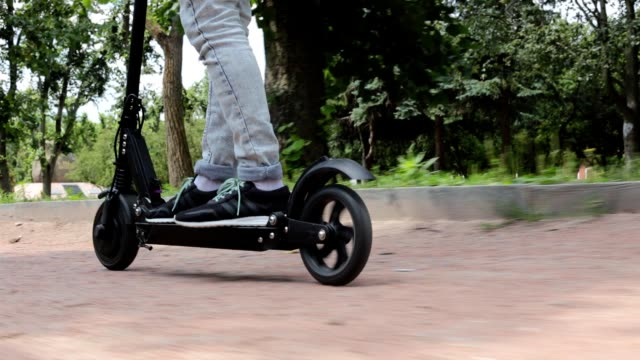 electric scooter. - motorino video stock e b–roll